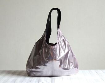 Metallic Pink Hobo Tote Bag - Spring Fashion