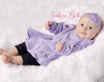 Baby headband, infant headband, newborn headband - lavender / light purple shabby flower headband