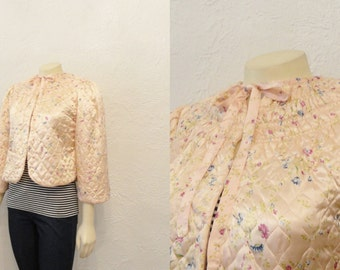 Vintage Jacket 30s 40s Bed Jacket Robe Pink Satin Quilted Jacket Floral Necktie Cute with Nightgown OR Jeans Modern Medium to Large
