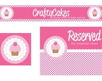 Premade Etsy Shop Set Polka Dot Cupcakes