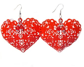 Valentine's Red Filigree Heart Earrings with Crystals