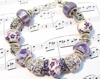 Passionately Purple Beaded Bracelet with European Style Beads and Crystals, purple floral beads, etsy handmade, etsy shop, gifts for her
