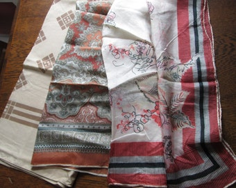 Vintage Lot of Three 1970's Ladies' Scarves