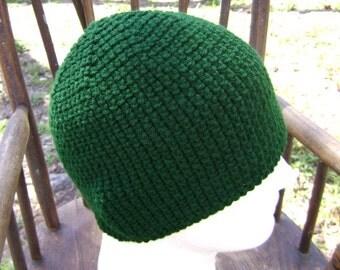 Crochet Hat Beanie Skullcap Men Women Teen Hunter Green