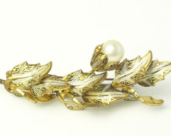 Vintage 1940's Brooch Gold Damascene Faux Pearl Leaf Spray Costume Jewelry Pin Gift For Her on Etsy