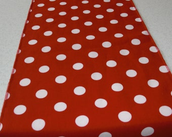 "108"" Red and White Polka Dot Table Runner"