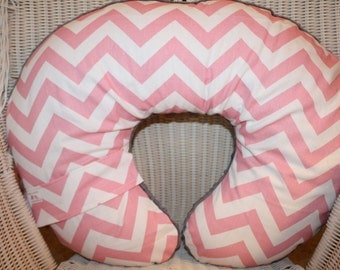 Nursing Pillow Cover - Baby Pink Chevron and Minky Boppy Cover - Modern, Chevron, Ready to Ship