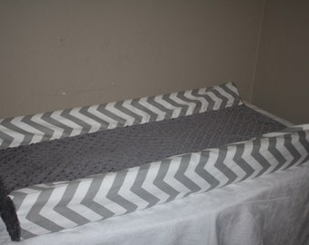 Deluxe Gray Chevron and Gray Minky Contour Changing Pad Cover