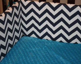 Navy Chevron Crib Bumper