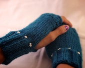 Teal Fingerless Mittens with White Shell