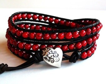 Red Leather Wrap Bracelet with Heart (II)