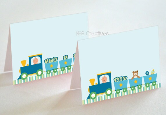 Train Baby Shower Place Cards - Baby Boy - DIY Printable Digital File
