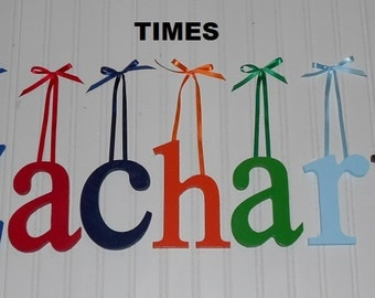 "Wooden Wall Letters - Painted - 6"" Size - Times plus Various other Fonts - Gifts and Decor for Nursery - Home - Playrooms - Dorms"