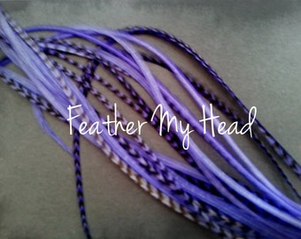 Whiting Grizzly Feather Extension Saddle Hackle Extra Long Hair Feathers 9-12 inches Lilac Purple