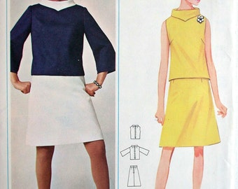 """Butterick Dress Pattern No 4400 UNCUT Vintage 1960s Size 16 Bust 36"""" Two Piece Sleeveless or Bell Sleeves A Line Skirt Easy to Sew Back Zip"""