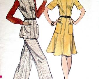 "Vogue Dress Pattern No 8676 UNCUT Vintage 1970s Size 14 Bust 36"" Princess Seams Sleeveless or Short Sleeves Tunic and Pants Back Zipper"