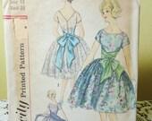 Vintage Bridesmaid Dress Pattern Evening Prom 1960s Simplicity 3769 Wrap Bow Sash