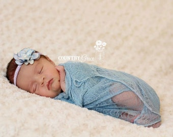 Cheesecloth Wrap and Headband Set...Photography Prop...Flower Headband Set...Baby Girl Headband
