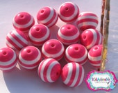 20 mm Pink Striped Beads
