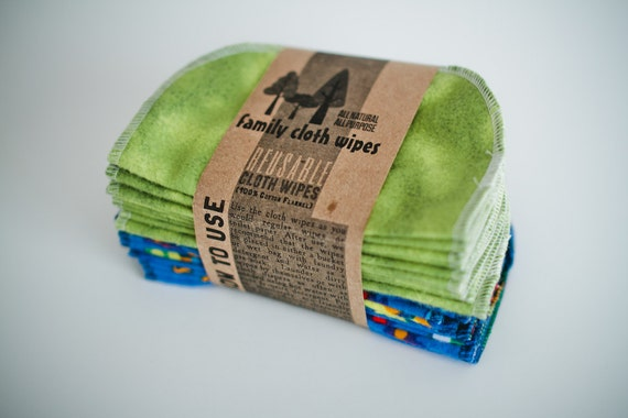 Cloth  Diaper Wipes -- 20 Airplanes and Green -- Eco Friendly Reusable Cloth Wipes