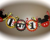 MIckey Mouse High Chair Banner - Classic Red, Black, yellow and white I am 1