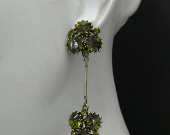 Cluster stick dangle earrings As seen on Kristin Bauer as Pam on True Blood  made with  Olive Green Swarovski Crystals