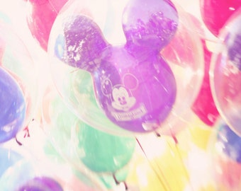 Disneyland Mickey Balloons, Colorful Child's Room Wall Art - 8x12 Fine Art Photograph