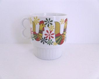 Vintage Rooster Mug - Folk Art Rooster Mug Made in Japan