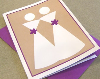 Custom Color Wedding Card with Two Brides