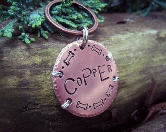 Handmade Pet Id Tag - Copper - XL Tag - Large Dog Tag - Hand stamped - Unique Pet Id Tag - Aluminum Backer - Wire Wrapped