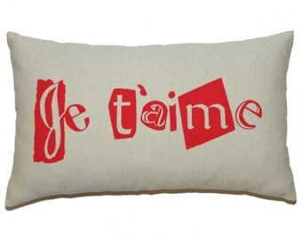 "Red ""Je t'aime"" Printed on French Coton Canvas Pillow Cover - Several Sizes Available"