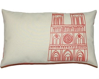 Paris Notre Dame Cathedral Pillow Cover, Poppy Red Applique on Off French White Cotton Canvas - More Sizes Avalaible
