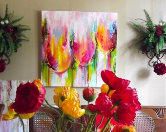 Floral Abstract Modern Painting by Lana Moes - XLarge 36 x 36 on Canvas - Made to Order - TulipMania Collection