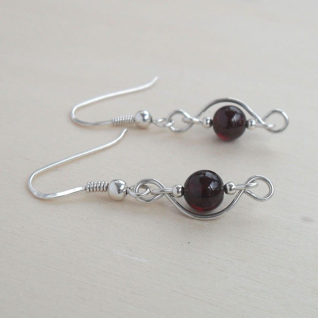 Elegant Beaded Dangle Earrings Wire Wrapped Dark Red Garnet