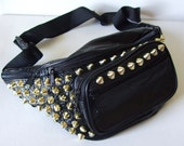 Studded Black Leather Fanny Pack - The Destroyer GOLD Studs