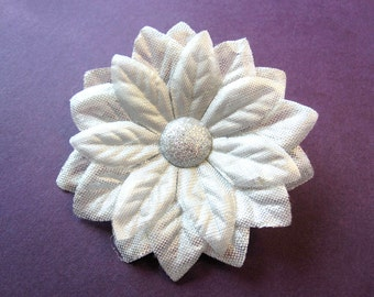 Fabric Flower Hair Clip, Brooch, or Pin - Metallic Silver Poinsettia