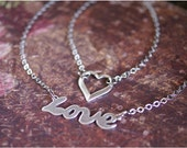Love Heart Necklace, Silver TWO NECKLACE SET, Cursive Love Pendant, Heart Charm Necklace, Antiqued Sterling Silver, Spread the Love, Sale