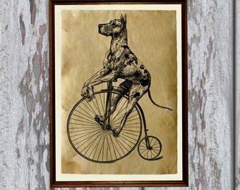Dog on a bike Antique paper Vintage art print Antiqued decoration Old looking AK240