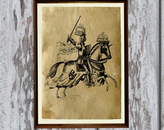 Medieval knight print Antiqued paper Vintage art Old looking Antique style AK111
