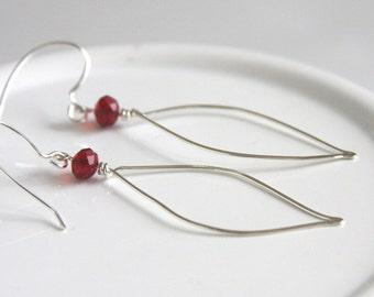 Sterling Silver Wire Earrings, Sterling Leaf Earrings, Red And Silver Earrings, Light Weight Earrings, 925 Sterling Dangles, Organic Earring