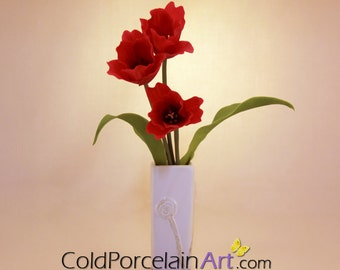 Tulips - Daffodils Centerpieces - Cold Porcelain Art - Made to Order