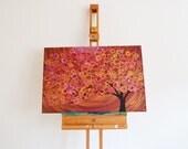 Autumn Tree Painting - Autumn Colours Gold, Burgundy, Terracotta