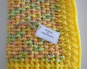 Crochet Baby Blanket Yellow Multi Color Child Stroller Carriage Car Size 22 X 32 Handmade