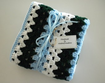 Crochet Blanket Baby Child Blues White Green Child Stroller Carriage Car Size 29 X 31 Handmade Granny Square