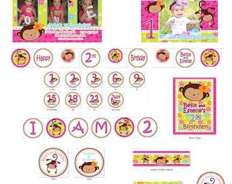 Monkey Love Birthday, Monkey Birthday Party, 1st Birthday Girl, 1st Birthday Party, Monkey Girl Birthday (DIY Printable PDF)