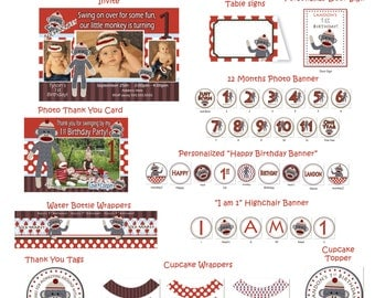 Sock Monkey Birthday Party  - Sock Monkey Party Package - Sock Monkey Banner - Sock Monkey Printables  - Sock Monkey DIY