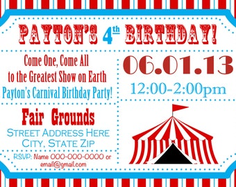 Circus Birthday Party Carnival Invite Circus Invite Circus Invitation Canrival Invitation Carnival Birthday Party Invitation Kids Invite