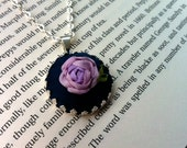 ON SALE Embroidered Lavender Rose Pendant Necklace - Silk Ribbon Embroidery by BeanTown Embroidery