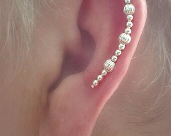 Ear Hugger Cartilage Plume Silver Beaded Pierced