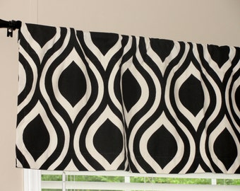 """Premier Prints Tear Drop Black and Natural Valance 50"""" x 16"""" Lined or Unlined"""